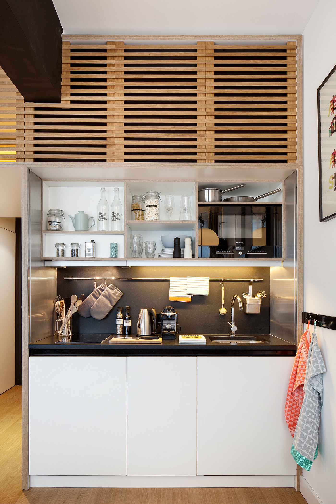 Wood Slat Cabinets - 4 awesome small studio apartments with lofted beds