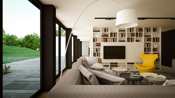 In the first space, a clean modern design takes a bit of a whimsical turn as you move further into the home. The main living area is quite sleek with neutral grays and long low lines. Still, splashes of those electric colors are evident in a bold yellow chair and vibrant wall art.