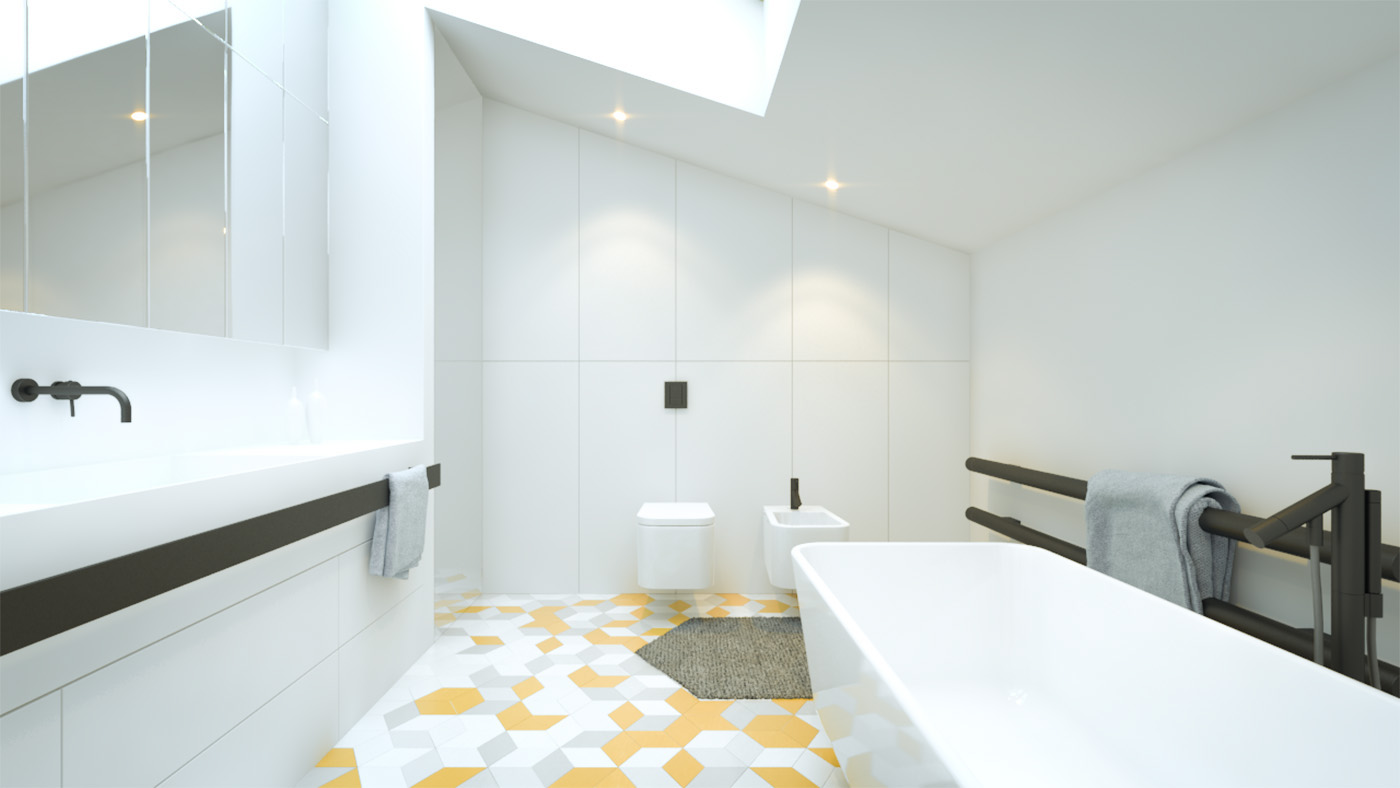 Yellow Geometric Tile Floor - 3 creative interiors that utilize bright accents