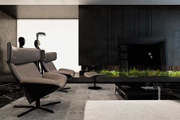 These wood and leather wing chairs are from the Almora collection by Doshi Levien – a very hot item. As demonstrated by the other views in this series, these seats are beautiful from every angle and very appropriate for placement in the middle of the room just as they are in this apartment.