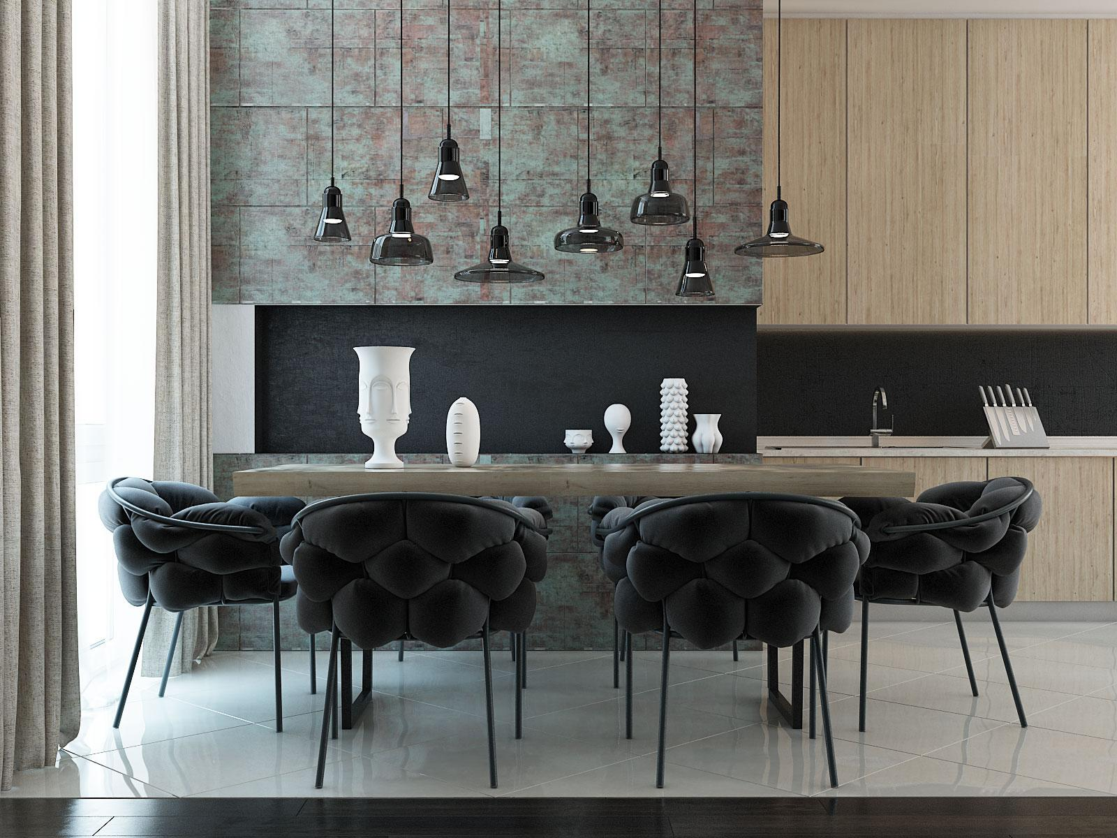 Artistic Dining Room - 4 modern homes with amazing fireplaces and creative lighting