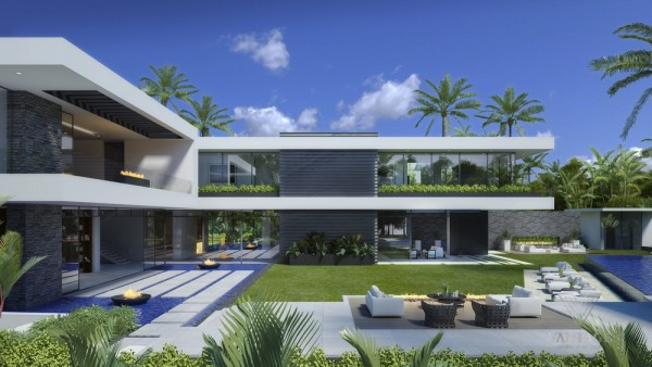backyard with clean lines