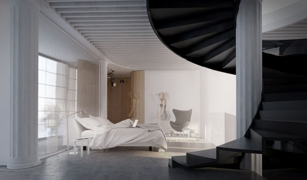 The bedroom enjoys a full view over the living space below, sunlight from the atrium illuminating the full-wall mirror behind the bed. Peeking around the corner, a curvaceous hallway leads to the bathroom, its path illuminated by Bouroullec AIM lamps.