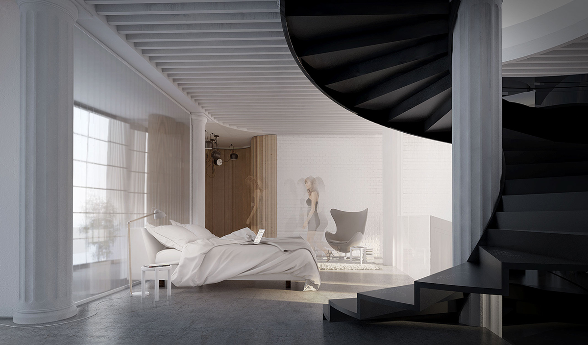 Bedroom Spiral Staircase - 4 ultra luxurious interiors decorated in black and white
