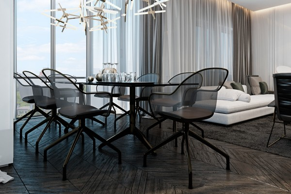 black and brass dining room