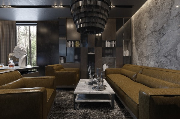 A low chandelier helps this social space achieve an even more intimate and cozy aesthetic – a feat that often proves difficult to accomplish in a room with such high ceilings. The stone accent wall helps bring the space even closer.