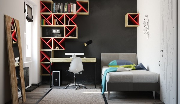 A red and black room hints at danger, adventure, and personality – a great theme for a teenage bedroom. Don't you just love the modular wall units? They make it easy to get that on-trend geometric look.