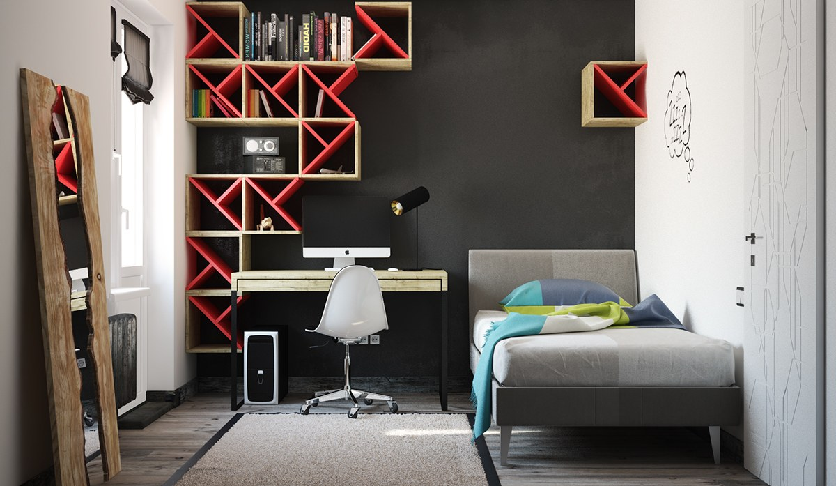 Black And Red Boys Room - Super colorful bedroom ideas for kids and teens