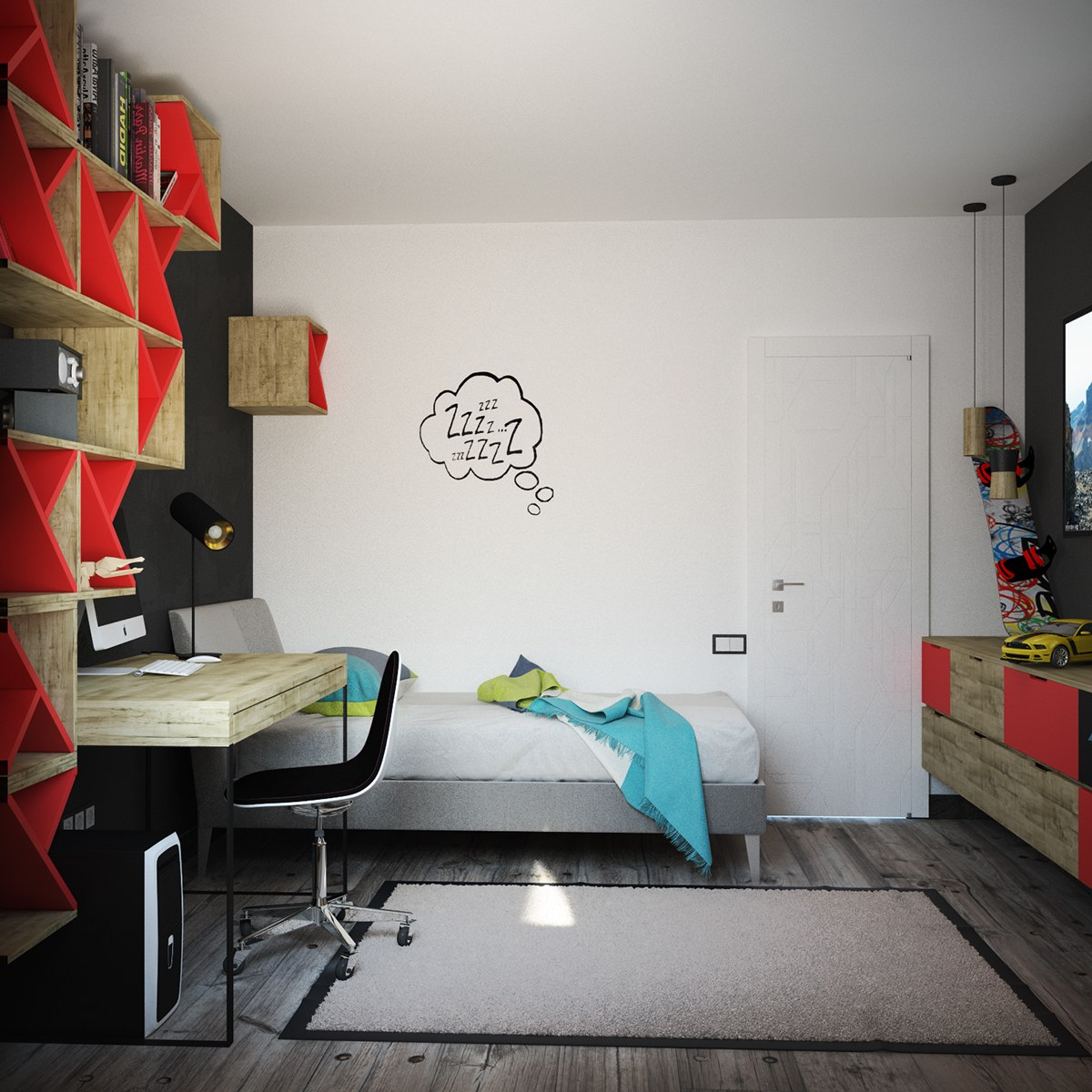 Black And Red Kids Room - Super colorful bedroom ideas for kids and teens