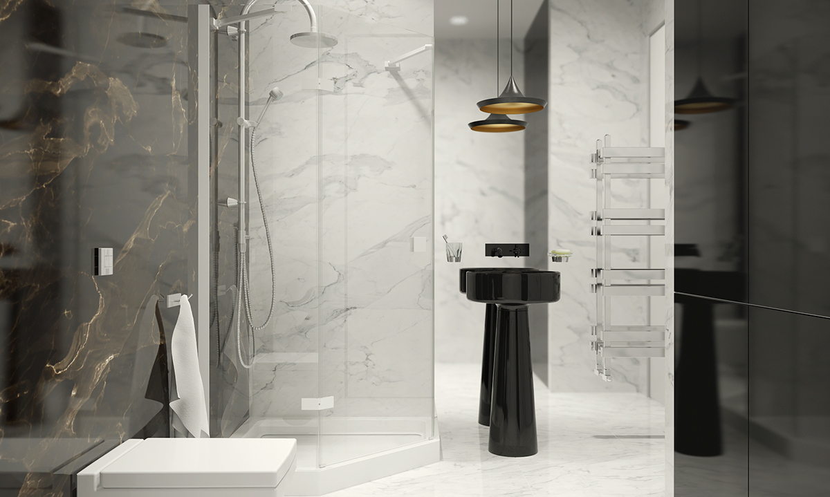black and white marble bathroom | interior design ideas.
