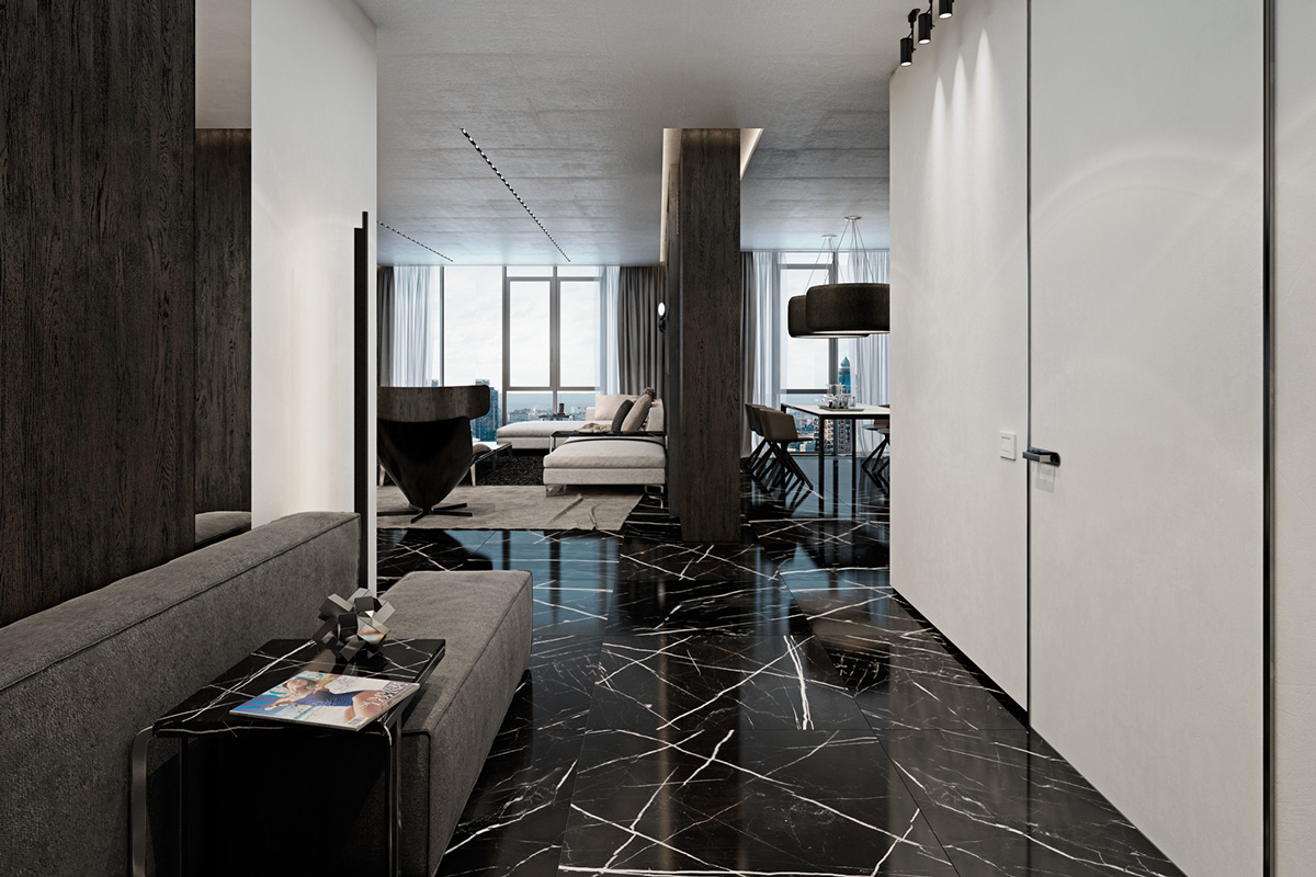 Black Marble Apartmentinterior Design Ideas