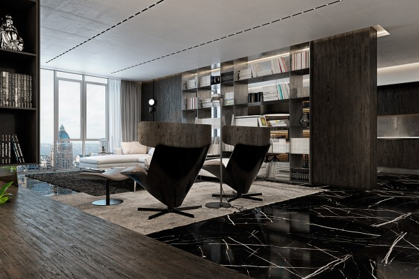 Black Marble Floor Three Luxurious Apartments With Dark Modern Interiors