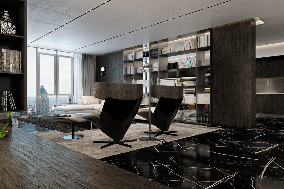 Black marble floor interior design ideas Black tile flooring modern living room
