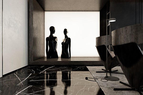A lightbox or solar shade creates a stunning silhouette of the sculptures.