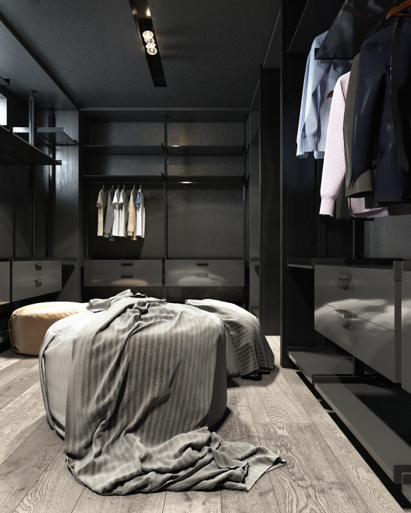black walk in closet interior design ideas