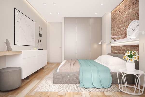 blue and gray bedroom