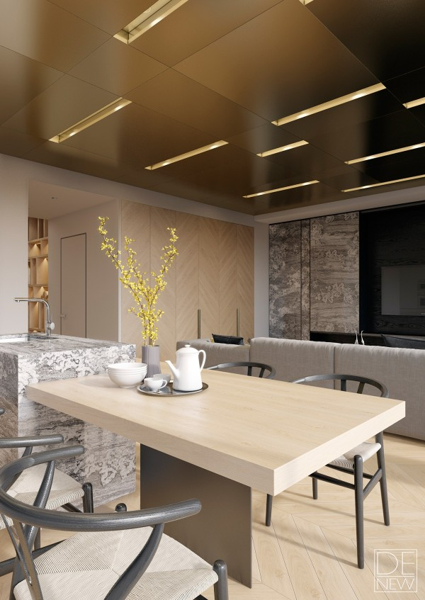 A branch of yellow flowers brightens the dining table and breakfast bar combo. This is a great angle to view how the extremely varied textures come together as one cohesive interior design.