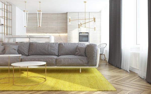 On the left is a pair of pendants by Michael Anastassiades, and on the left is the Atomium Chandelier from Lambert & Fils.