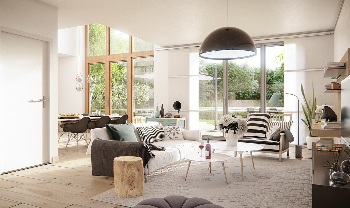 3 natural interior concepts with floor to ceiling windows - Deco chambre style scandinave ...
