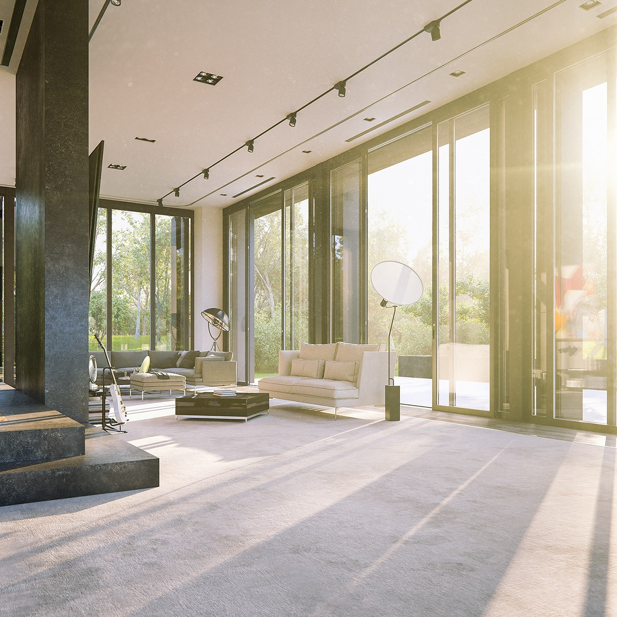 Bright Industrial Modern Interior - 3 natural interior concepts with floor to ceiling windows