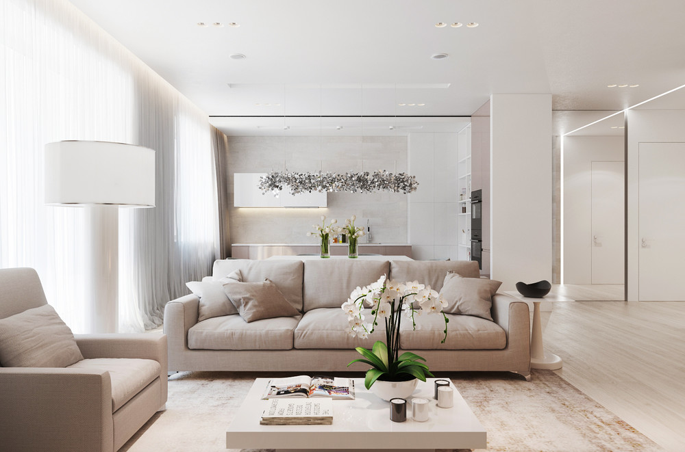 Bright Tan And White Living Room - A chic pair of interiors with natural neutral design