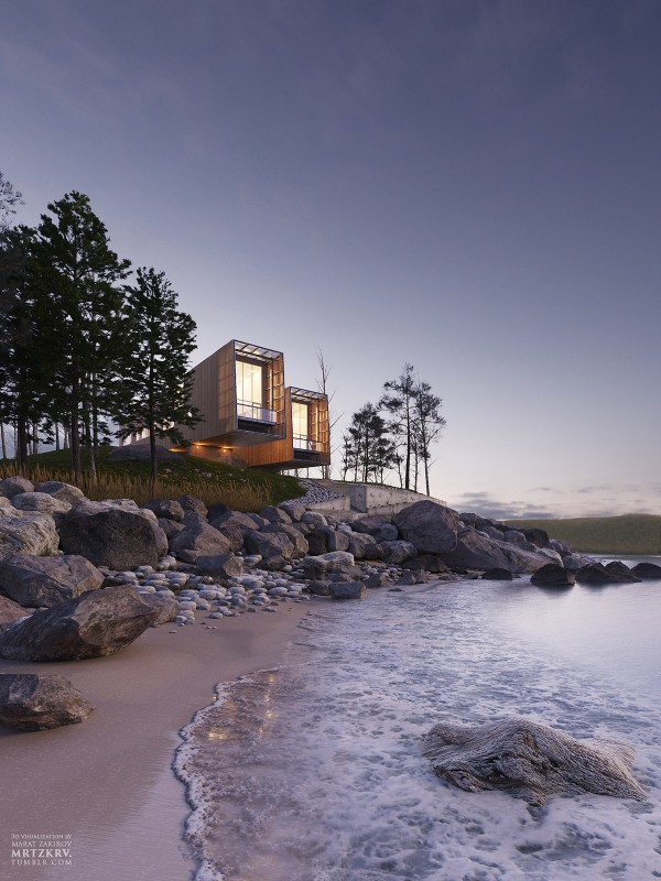 Designed to mimic the shape of binoculars, the Two Hulls project by MacKay-Lyons Sweetapple makes spectacular use of its unique view of the Nova Scotian coastline. Geothermal heating, wooden rain skin, and concrete piers ensure harmony with the surrounding environment.