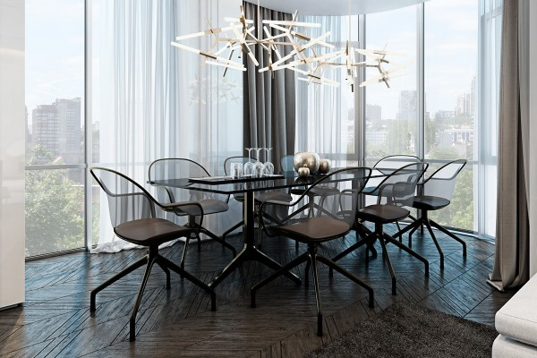 Lindsay Adelman chandeliers brighten the table, nicely coordinated with the centerpiece decorations below. Thanks to the table's enviable position surrounded by floor-to-ceiling windows, the chandelier isn't much needed in the daytime but surely provides a stunning display at night.