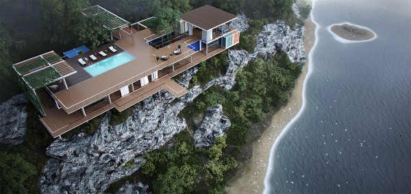 Another gorgeous cliffside concept, with a gravity-defying observation deck. Recreation areas occupy the top floor, with private areas enjoying the shade beneath. The uppermost room would make for an especially inspiring office.
