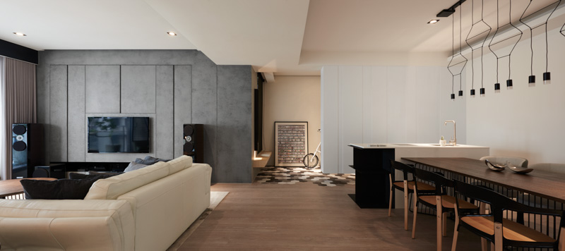 Concrete And Wood Living Room - A stylish family apartment from made go design