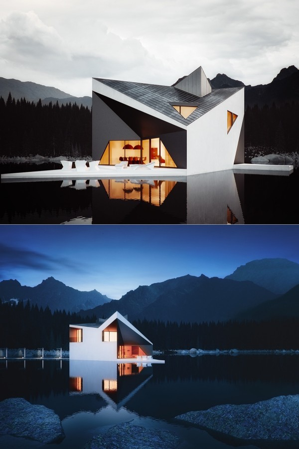 Rendered by Michal Nowak and designed by 81.WAW.PL architects, the Crown House projects its stoic form across a still dark lake. The somber color of the water is reflected in the treatment of the charcoal-colored eaves, heightening contrast and making the folded architecture look even more dramatic.