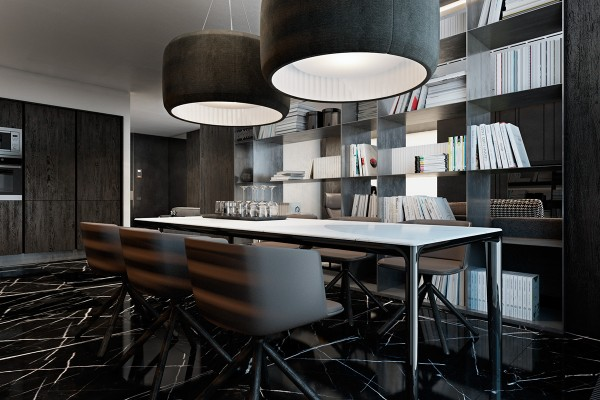 Every piece of furniture in the dining room contributes to the atmosphere. Here there are no afterthoughts, just good design. The chairs are especially fitting, part of the Cut series by Francesco Rota.