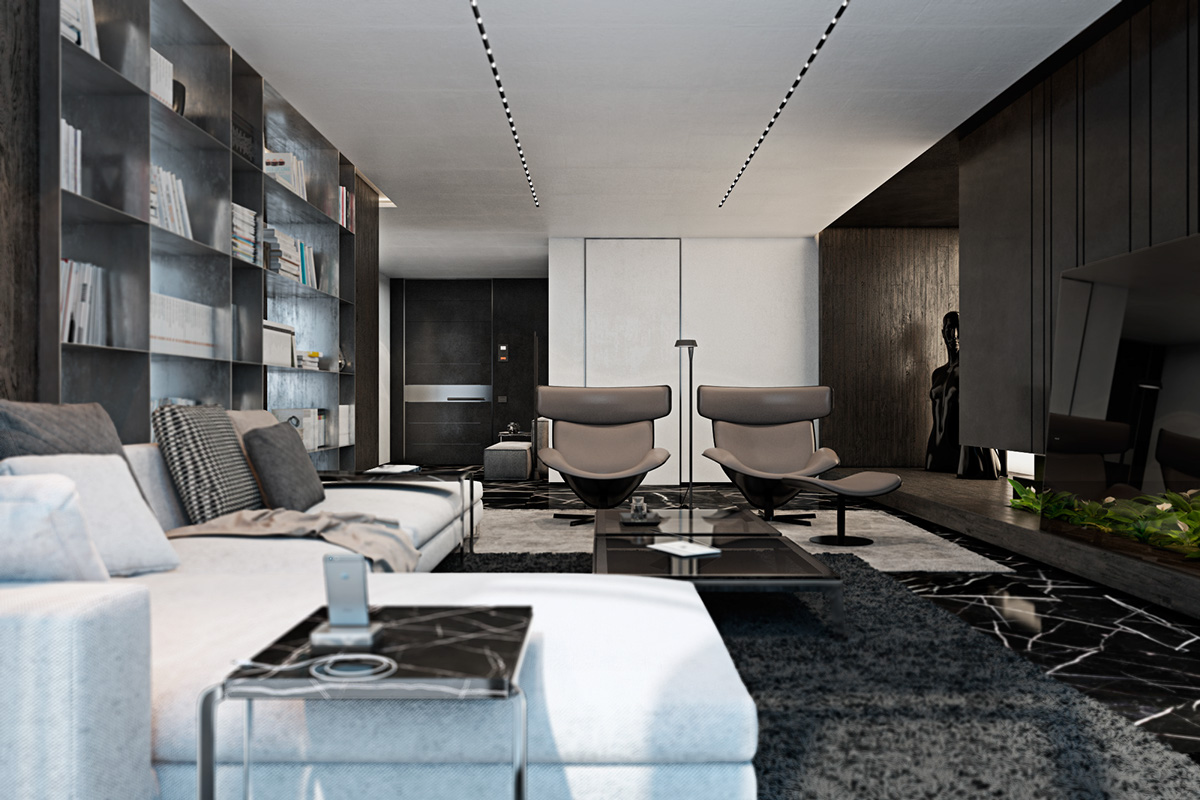 Three luxurious apartments with dark modern interiors for Modern luxury apartment design