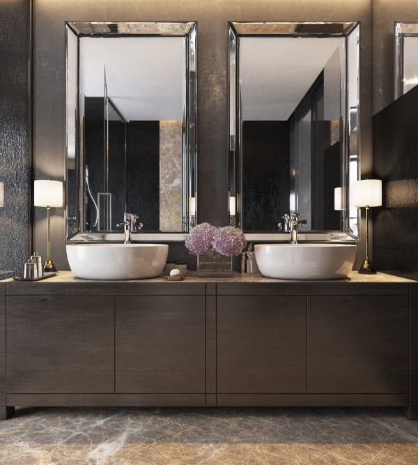 Another bathroom, with the same vessel sinks. This time simplicity rules the room – clean lines and simple materials make for a very bright and refined space.