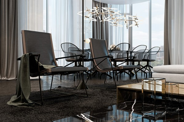 Both the loungers and the dining chairs are the work of Italian designer Antonio Citterio. It made sense to choose lightweight pieces for this particular location as to minimize the amount of skyline blocked by the furniture – the thin frames of the loungers and the mesh bodies of the dining chairs offer a versatile solution.