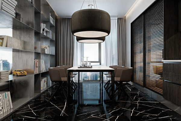 The dining room uses glossy black and white marble to amplify the amount of sunlight it receives – a thoughtful and attractive choice. Additional light over the table comes from upholstered Silenzio pendant lamps by Monica Armani.
