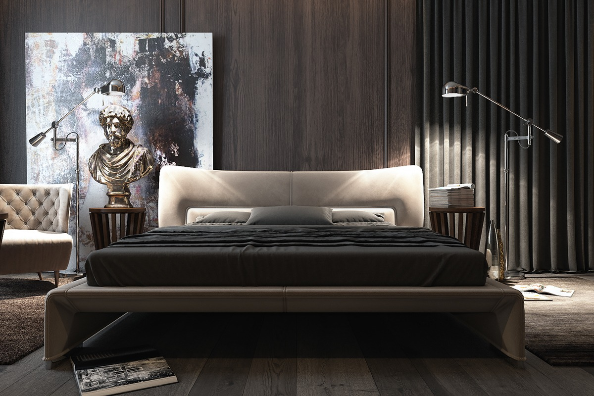 Three luxurious apartments with dark modern interiors for Home decor bedroom