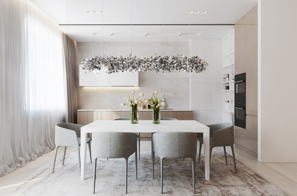 Dining Room In Neutral Colors - A chic pair of interiors with natural neutral design