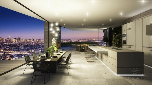 Minimalism proves the perfect choice for the kitchen and dining area, emphasizing the vastness of the city below.
