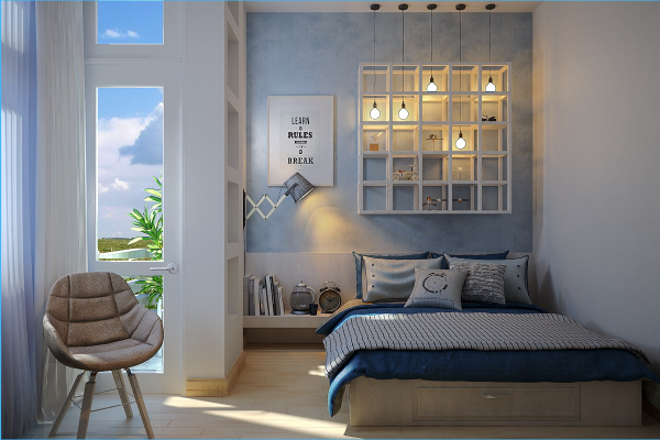 This blue room reflects the peaceful coastal view seen from the window. Plus, this bedroom features a cool DIY project idea: pendant lights hanging through open shelves, perfectly framed among special knick-knacks. The adjustable reading lamp mounted from the wall on the right is neat too!