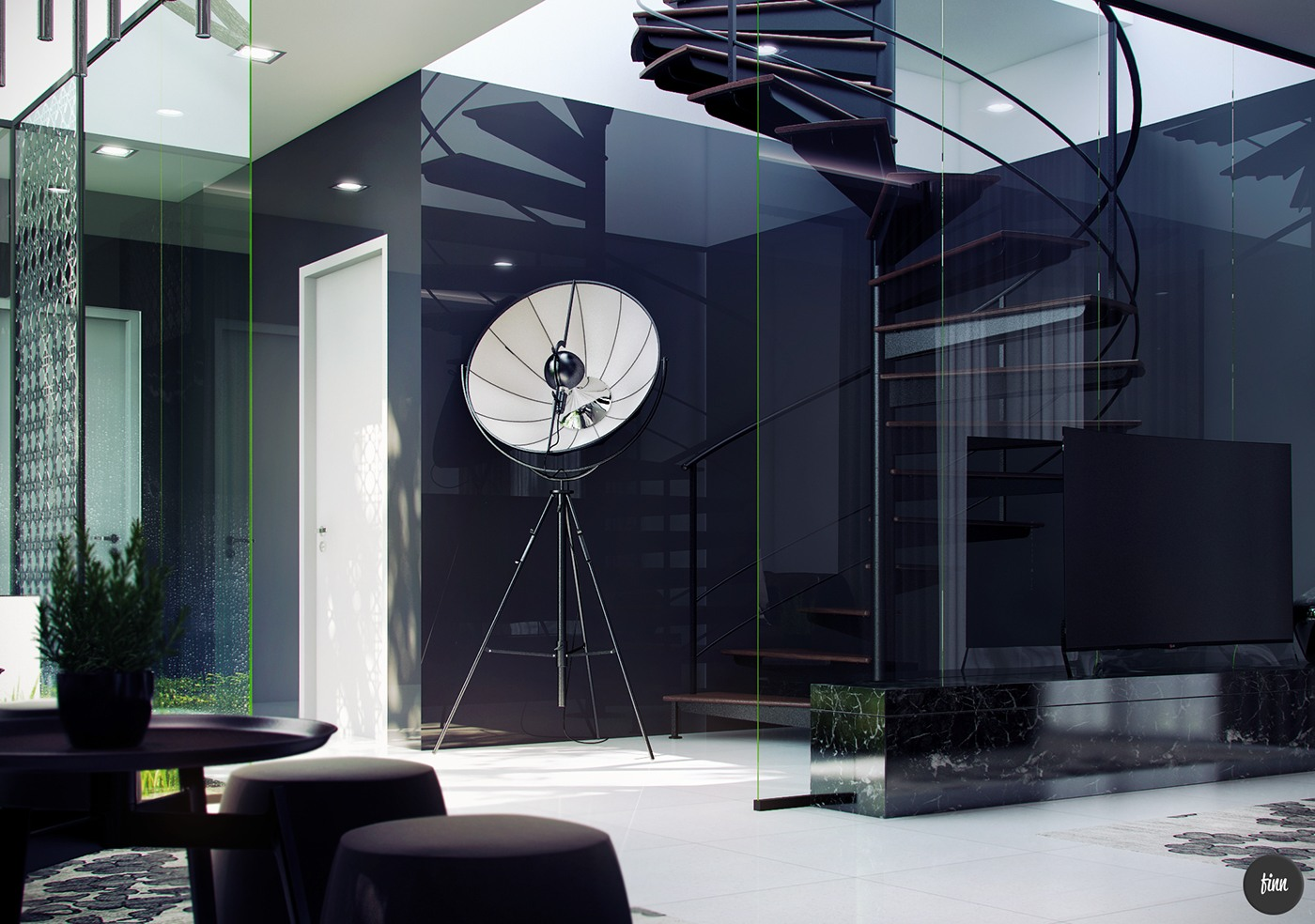 Dramatic Spiral Staircase In Glass - 3 natural interior concepts with floor to ceiling windows