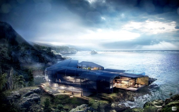 A gorgeous cliffside home, embraced by a curved glass shell.