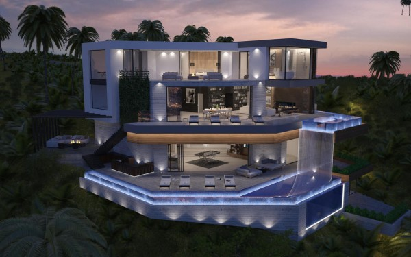 Incredible! This spacious home concept occupies a curved foundation with multilevel infinity pools, its impressive facade sparkling with lights.  Now imagine taking a swim from the raised cantilever pool to the right – breathtaking.