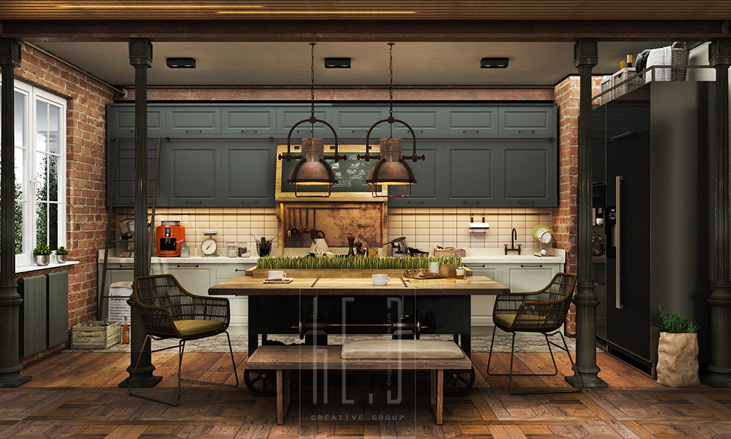 Gatsby House Kitchen - 3 stunning homes with exposed brick accent walls
