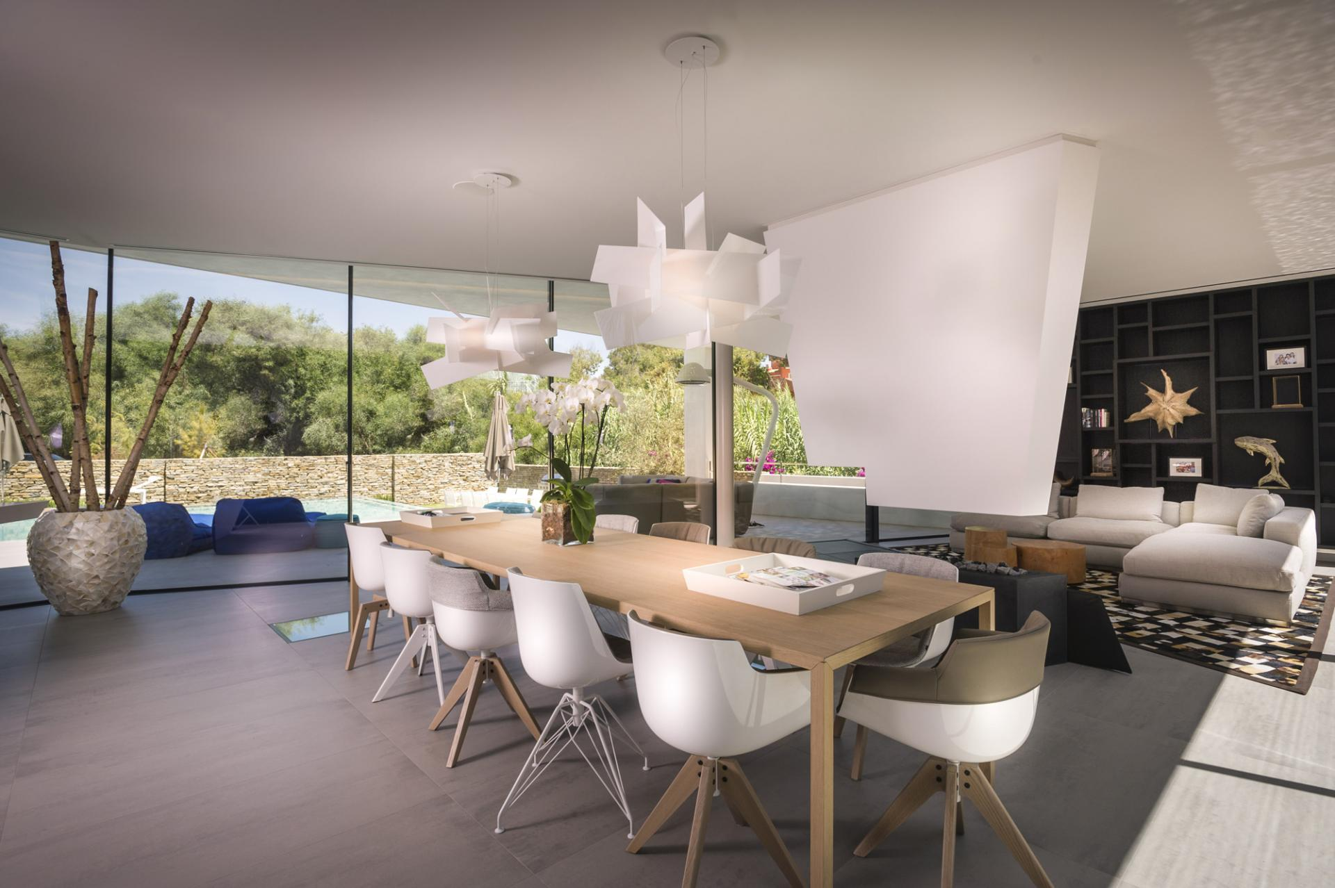 Geometric Dining Room - A cool beachfront villa with geometric architecture