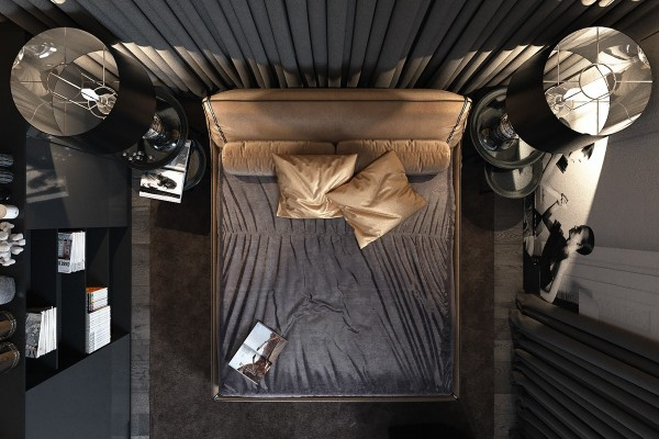 gold and black bedroom