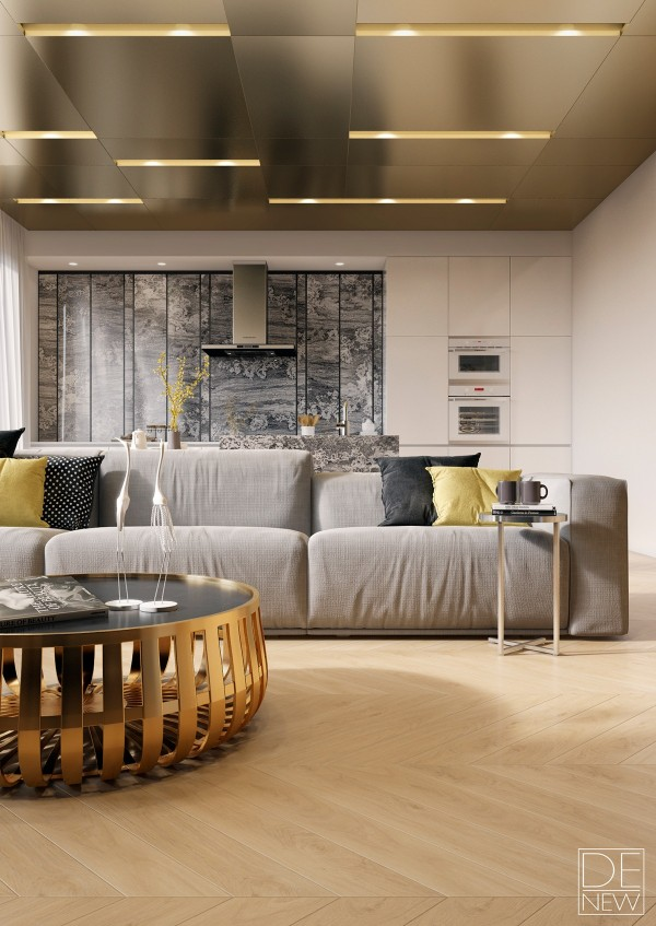 The goldish-brass table seems to take inspiration from the Panier table by Erwan and Rowan Bouroullec, although the sophisticated materials really enhance the design compared to the popular plastic version. Perched on that same table are two beautiful white crane sculptures to keep guard over the sitting area. In many cultures, cranes symbolize grace, beauty, and even eternal youth.