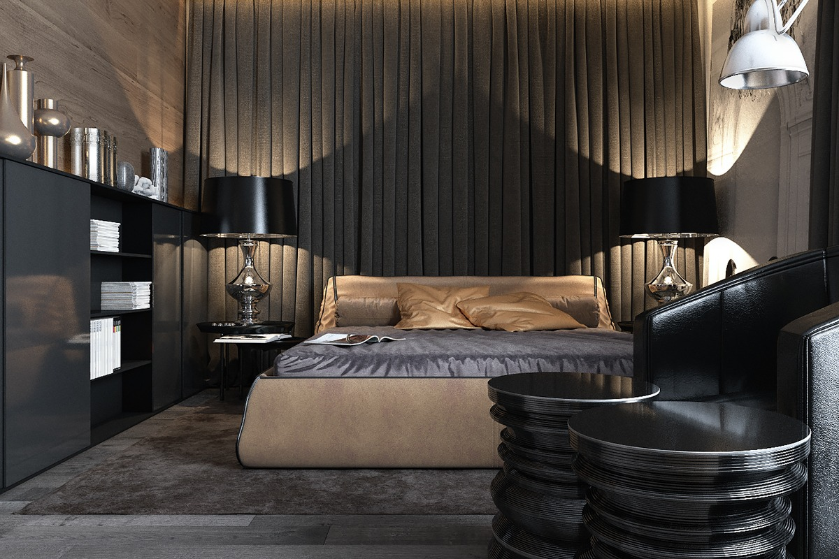 Three luxurious apartments with dark modern interiors for Modern design accessories