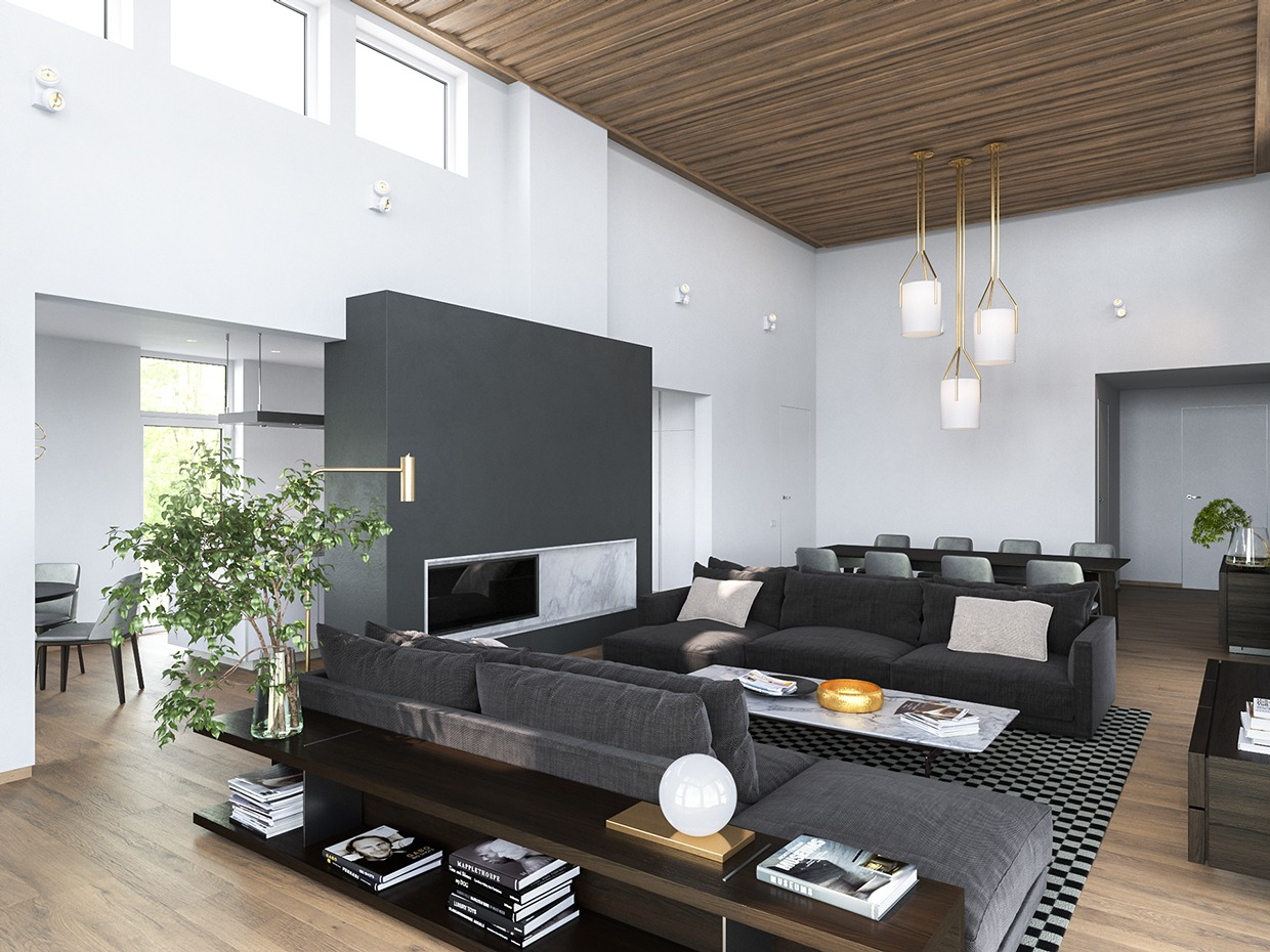 3 modern homes in many shades of gray for Dark grey interior