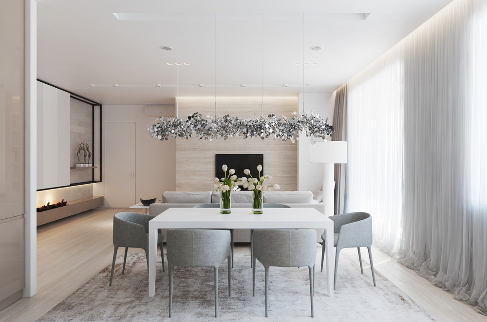 Gray And Wood Dining Room - A chic pair of interiors with natural neutral design