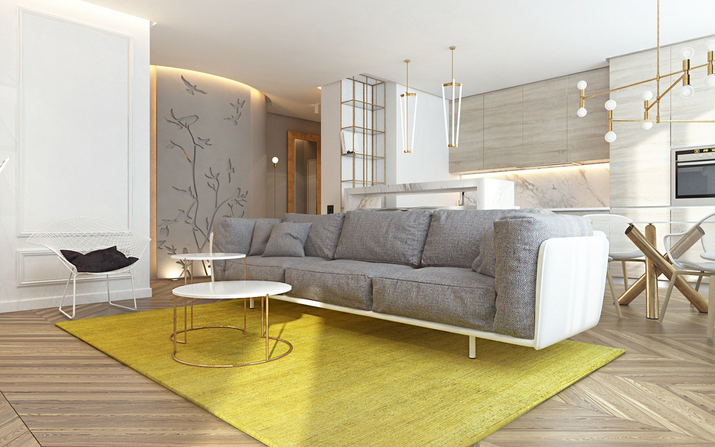 yellow and gray living room.  3 Modern Homes in Many Shades of Gray